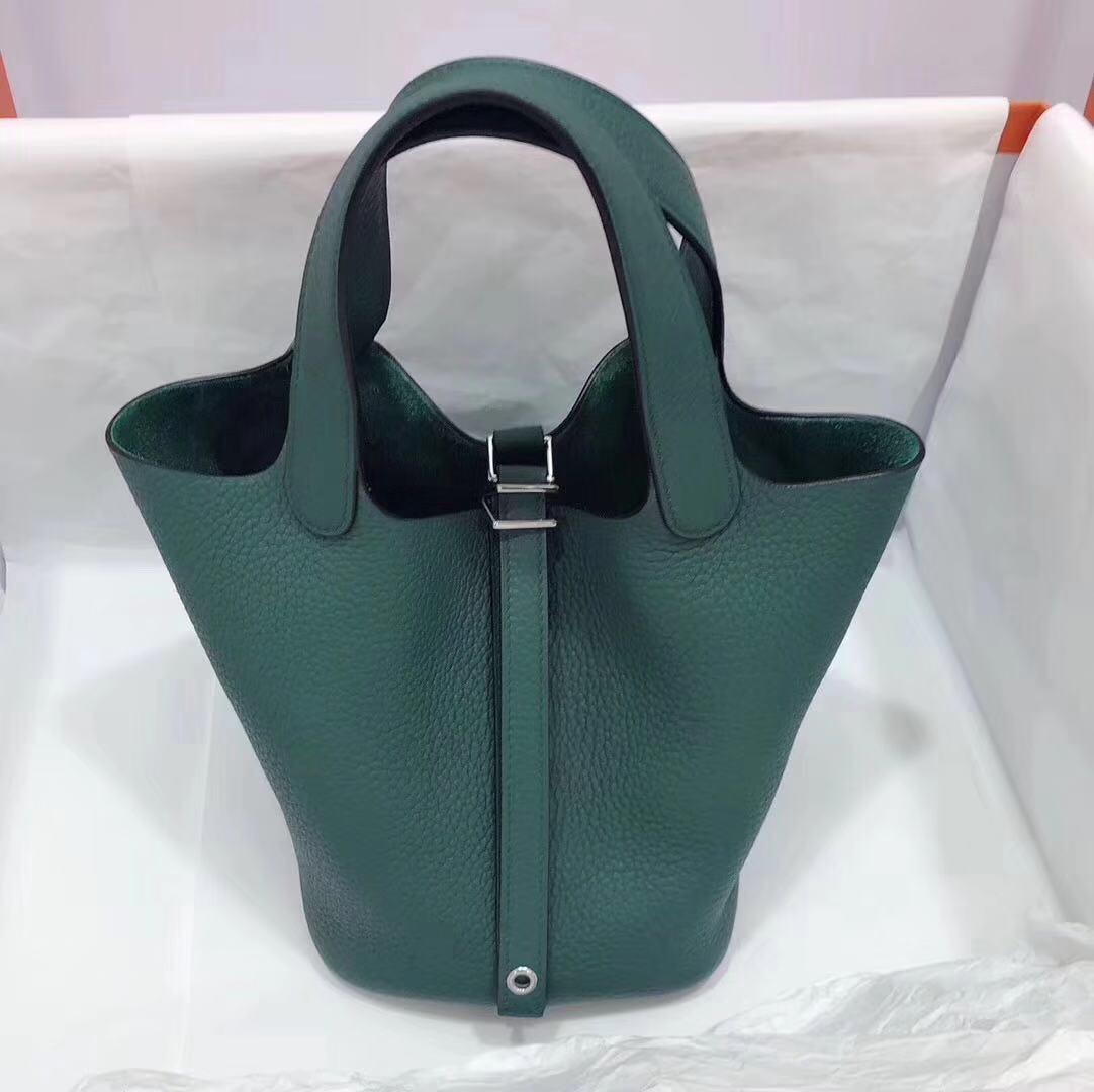 现货:Z6孔雀绿 菜篮子 银扣 tc 18cm  纯手工