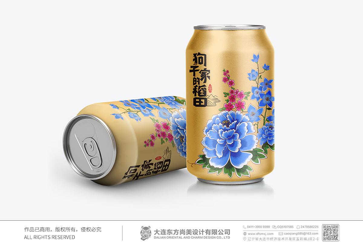 狗子家的稻田_大米包裝設計_大米插畫包裝_包裝罐設計